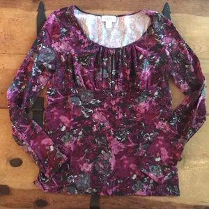 Ann Taylor Loft Long Sleeve Purple Pattern Top